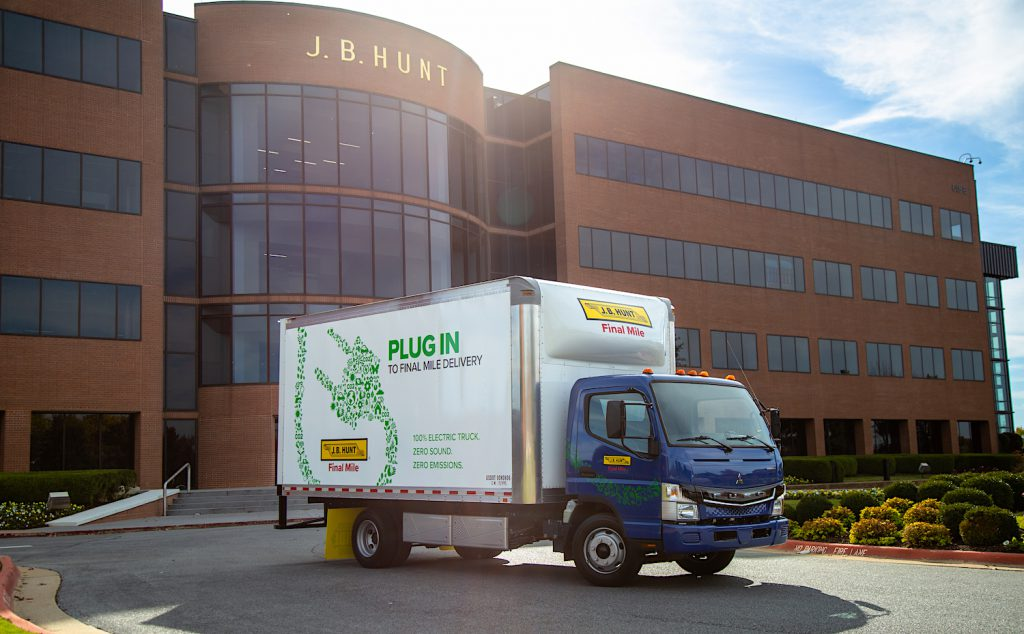 One of the five all-electric FUSO eCanter box trucks parked at J.B. Hunt headquarters.