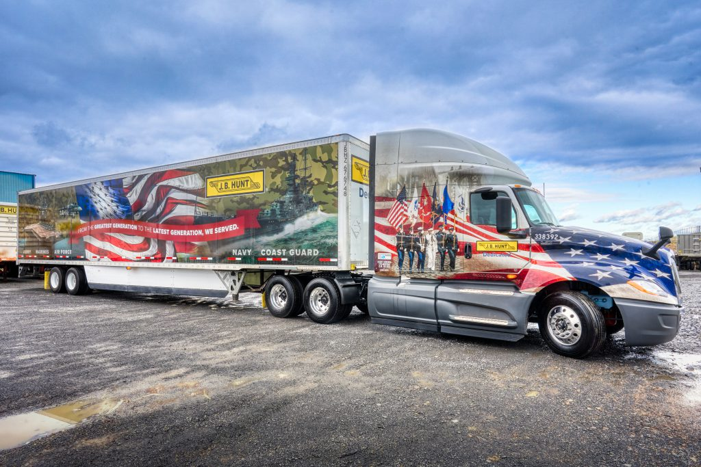 J.B. Hunt truck wrapped for Wreaths Across America