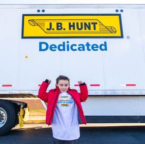 Child in front of truck
